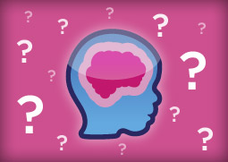 Illustration of brain with question marks