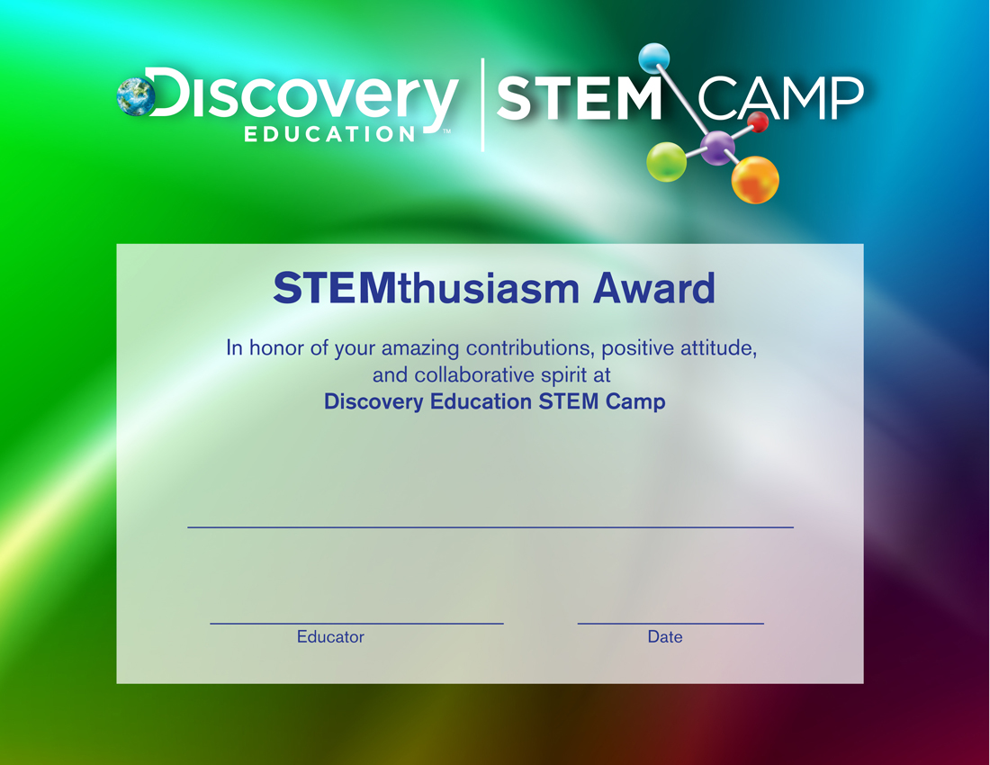 Stem camp water course for Stem certificate template